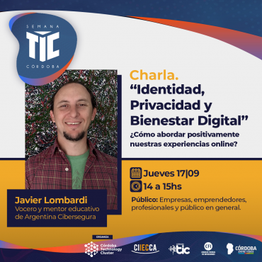 """17/09 [INVITACIÓN]: """"Identidad, Privacidad y Bienestar Digital"""" ¿Cómo abordar positivamente nuestras experiencias online?"""
