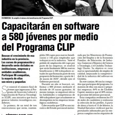 Capacitarán en software a 580 jóvenes por medo del Programa CLIP