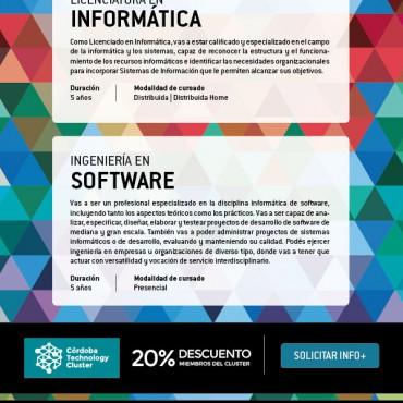 20% de descuento Lic. Informática / Ing. Software - Convenio Cluster + Siglo 21