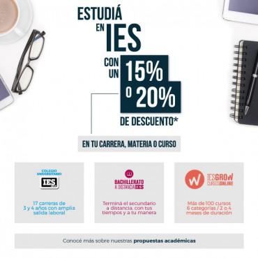 Buena Noticia: 20 y 15% OFF - Becas Corporativas. Convenio Cluster + IES
