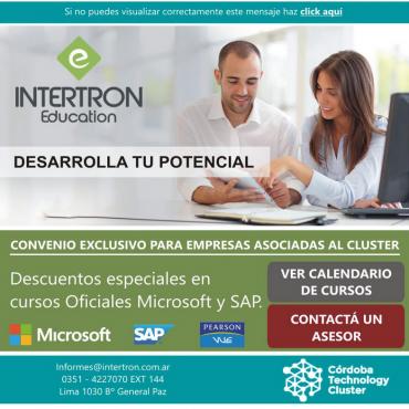 15% de descuento en cursos oficiales Microsoft y 5% Academias SAP - Convenio Cluster + Intertron