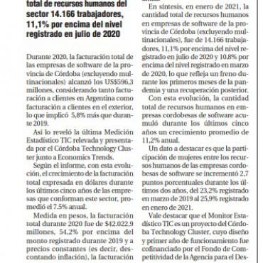 En 2020, las empresas de Software de Córdoba facturaron 5,8% más que 2019