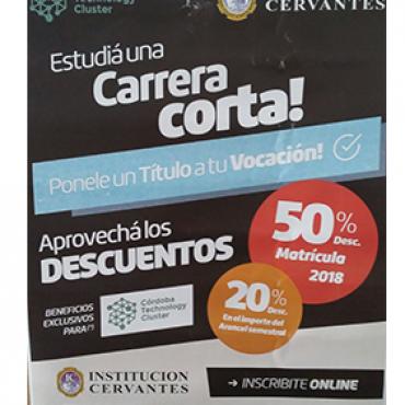 50% OFF en Matrícula + 20% OFF en aranceles - Convenio Cluster + Institución Cervantes