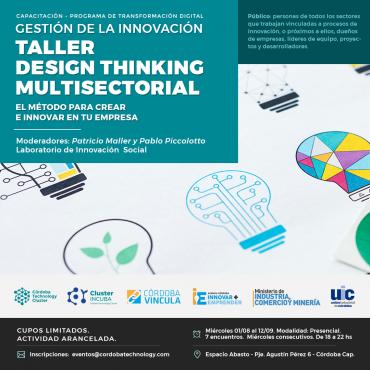 "01/08 [CAPACITACIÓN]  ""Gestión de la Innovación: Taller Design Thinking - Multisectorial"""